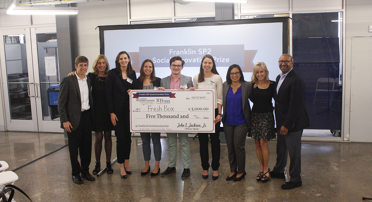 Fresh Box is presented a check after winning the inaugural Franklin SP2 Social Innovation Prize
