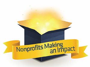 Nonprofits Making an Impact on gold banner in front of a glowing open box
