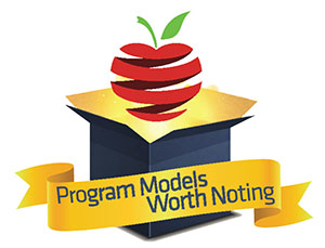 Program Models Worth Noting written on banner with an apple floating out of a golden box
