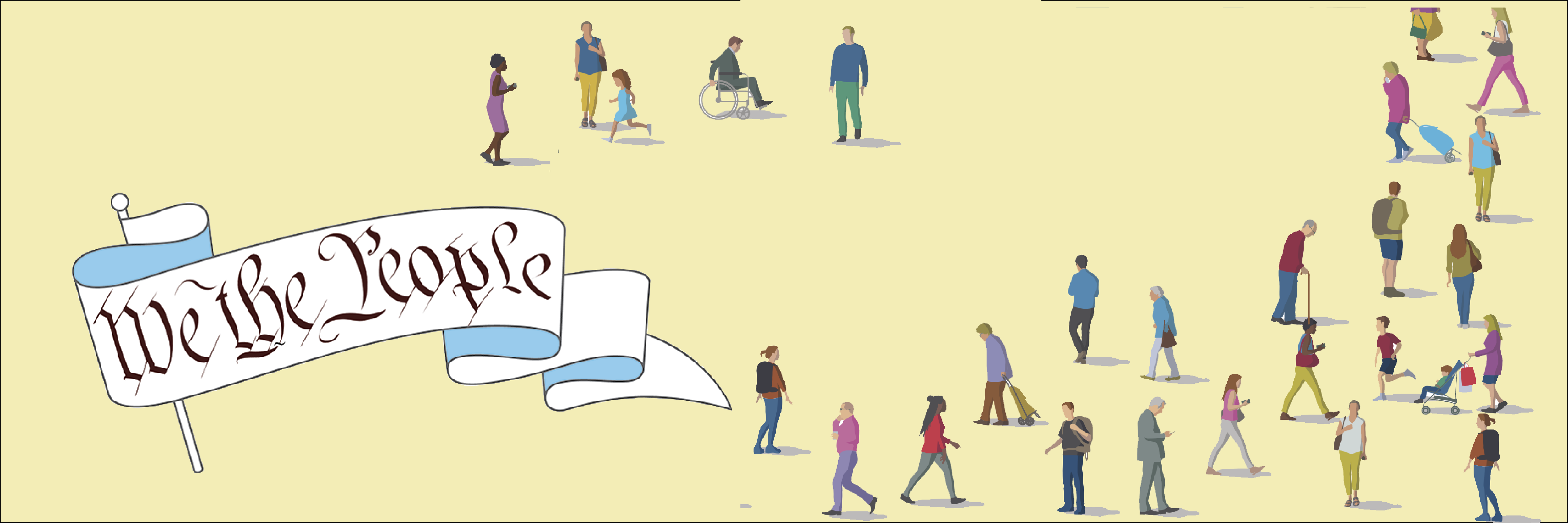 We the People banner with small diverse illustrated people