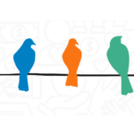 Colorful birds sitting on a line
