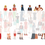 Diverse colorful women in illustration