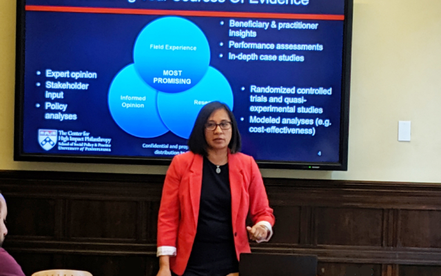 Kat Rosqueta teaching funder ed with a slide about Broadening Your Sources of Evidence