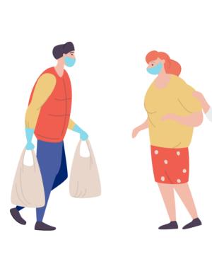 People in masks getting groceries from helper