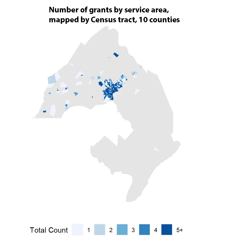 number of grants by service area, mapped by census tract, 10 counties