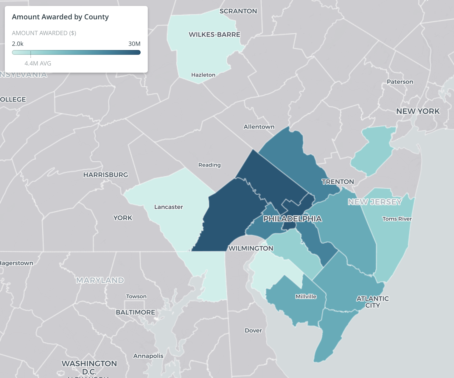 Grants by county in PA and southern NJ