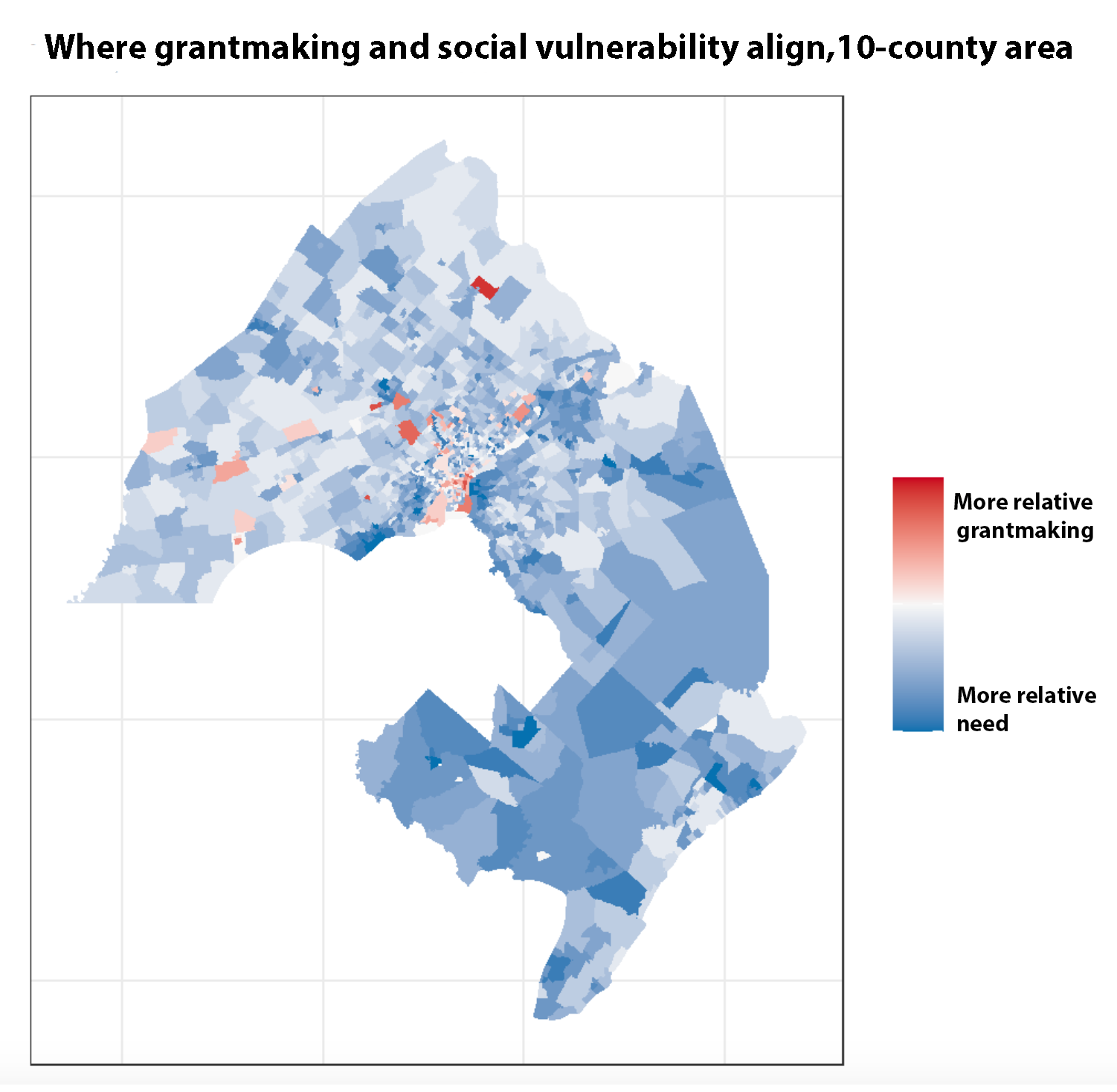 Where grantmaking and social vulnerability align, 10-county area