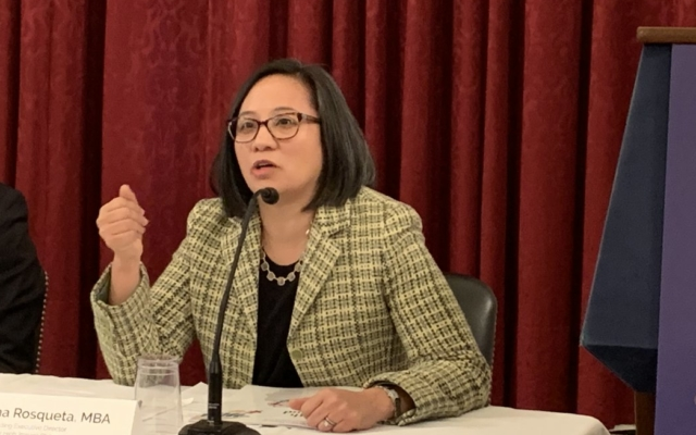 Kat Rosqueta speaking at the Agenda for Change
