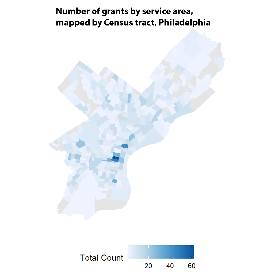 number of grants by service area, mapped by census tract, Philaelphia