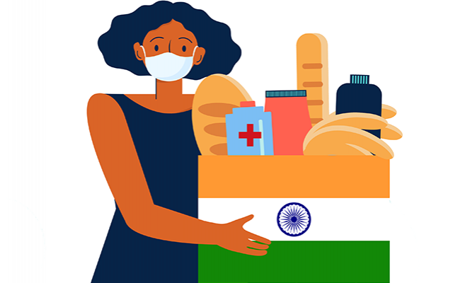 Masked woman with box of supplies marked with Indian flag
